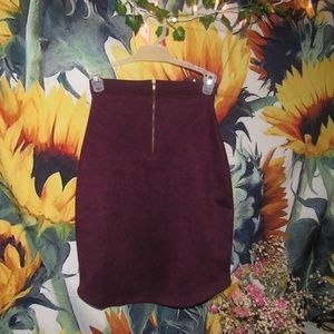 Red Suede Charlotte Russe Mini Skirt